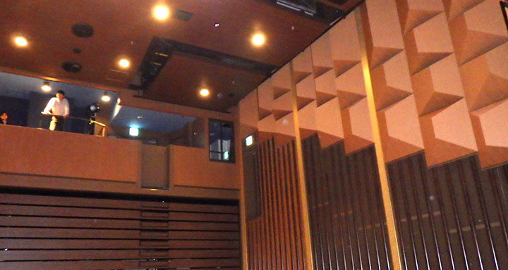 Baffled walls, programmable stage lighting and tech booth