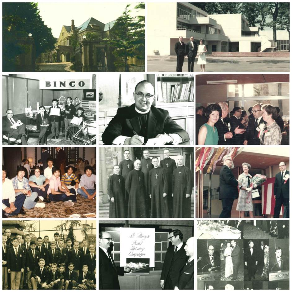 Collage of photos showing Br. Andrew at St. Mary's International School